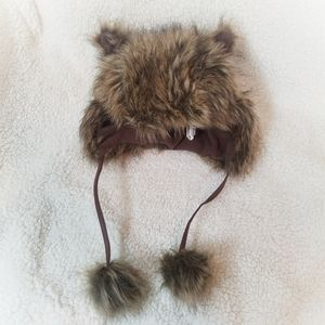 Mossimo Faux Fur Hat with Ears and Pom Poms